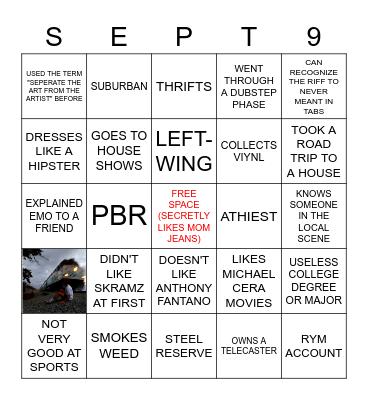 Emo Bingo Card