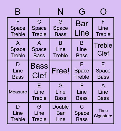 Note Name & Parts of the Staff Bingo Card
