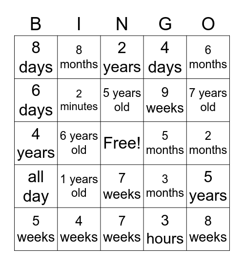 ASL Time Bingo Card