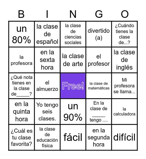 Las clases Span 1 Bingo Card
