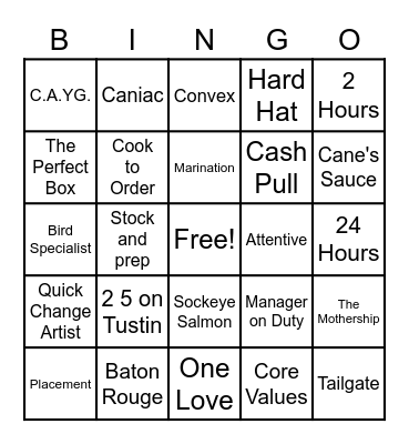 C390 Trivia Bingo Card
