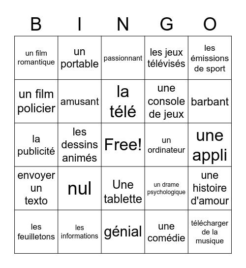 French tv and media Bingo Card