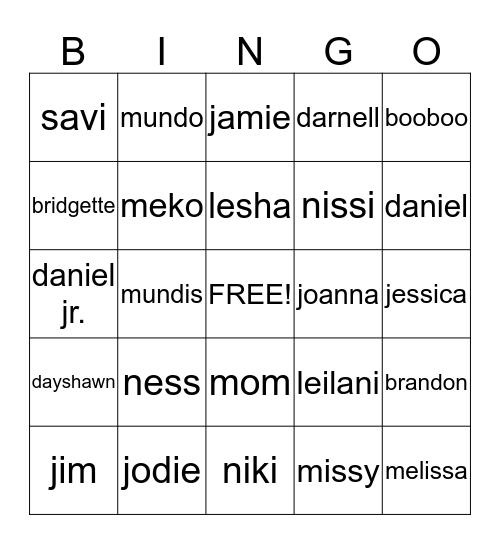 FAMILY BINGO! Bingo Card