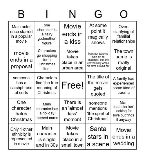 Hallmark Holiday Movie Bingo Card