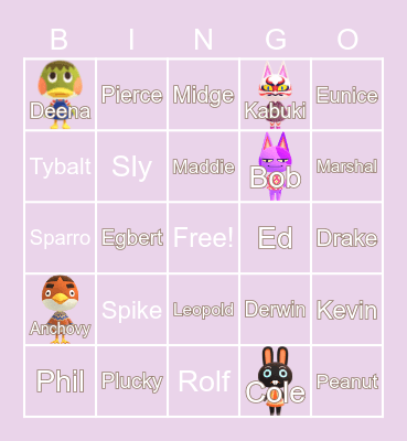 Animal Crossing (´・ω・`) Bingo Card