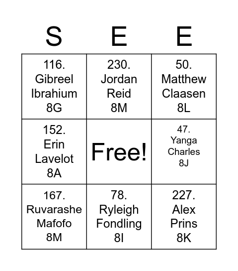 Find that learner Bingo Card