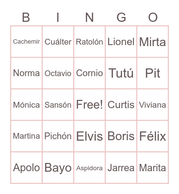 Animal Crossing Bingo Card