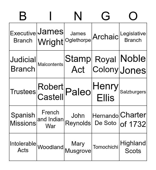 First Semester Review - GA Studies Bingo Card