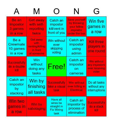 Among Us Bingo Card