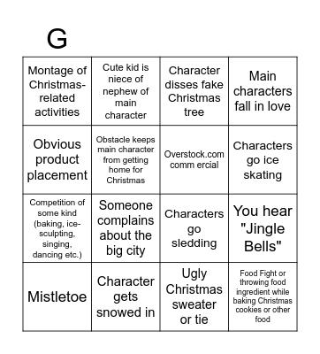 Hallmark Christmas Movie Bingo Card