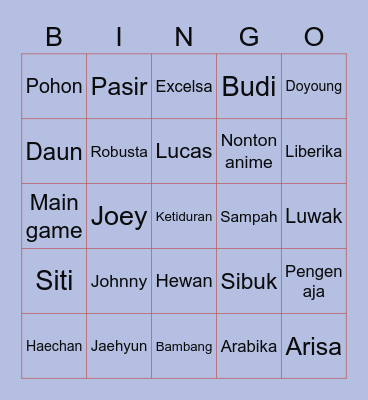 Bae's Bingo Card