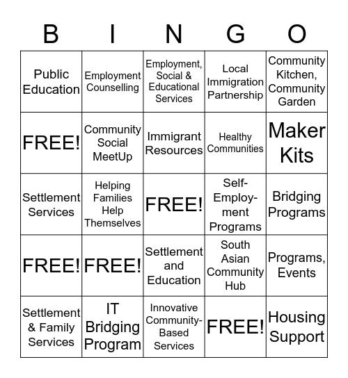 Community Partner Bingo Card