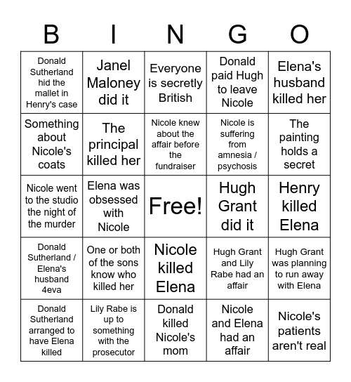 UNDOIN' IT Bingo Card