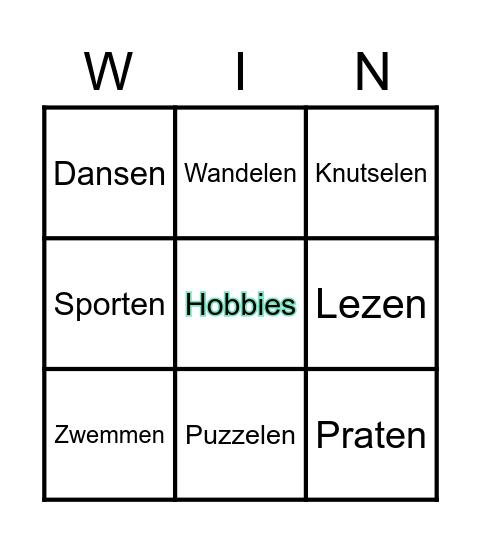 Hobby Bingo Card
