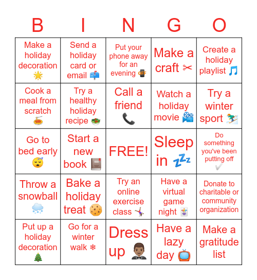 SRAD Workplace Wellness Council Holiday BINGO Card