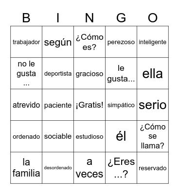 ¿Cómo eres? Realidades 1B Bingo Card