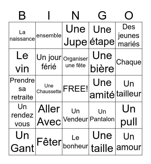 Vocabulaire 6A et 6B Bingo Card