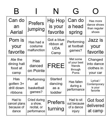 Dancer Bingo Card
