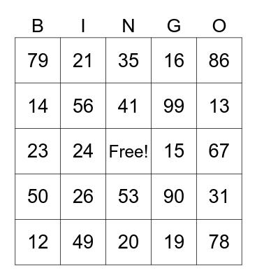 Fun Bingo Card