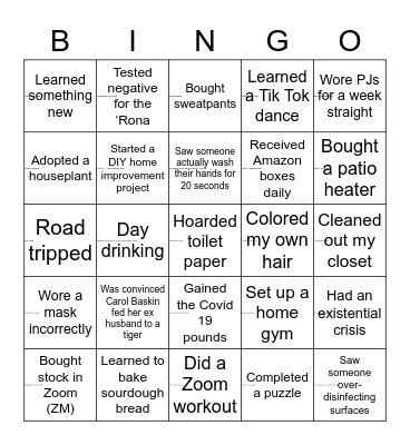 Oh Deer, What a Year 2020 Bingo Card