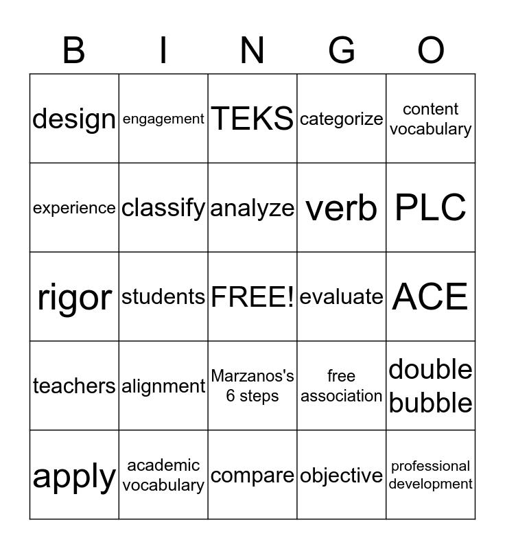 Academic Vocabulary Bingo Card