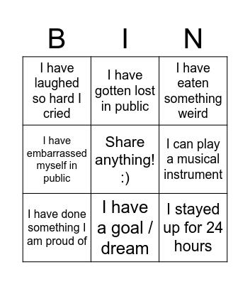 Dayspring Orientation Bingo Card