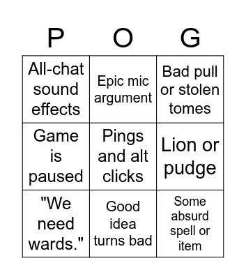 The Howie Dota Experience Bingo Card