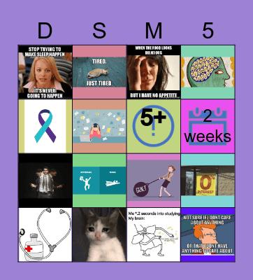 Major Depressive Disorder Bingo Card