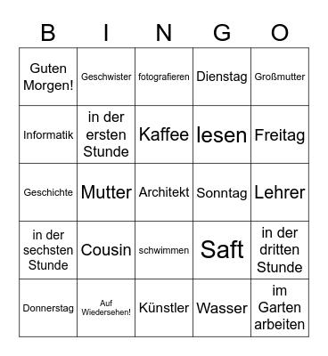 Krokodilspiel Bingo Card