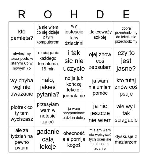 sł Bingo Card