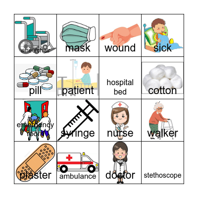 Hospital โรงพยาบาล Bingo Card