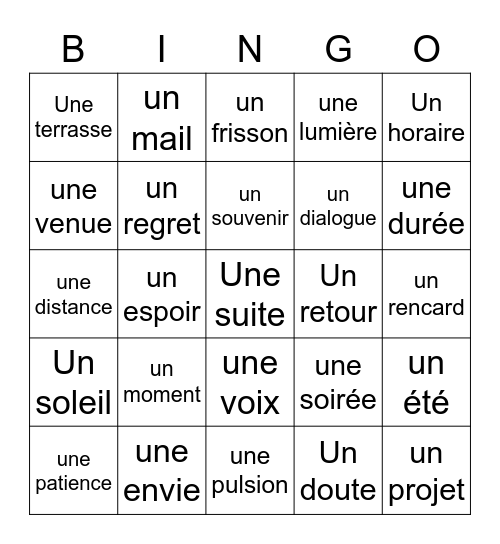 BINGO - Un Verbe - Grand Corps Malade Bingo Card