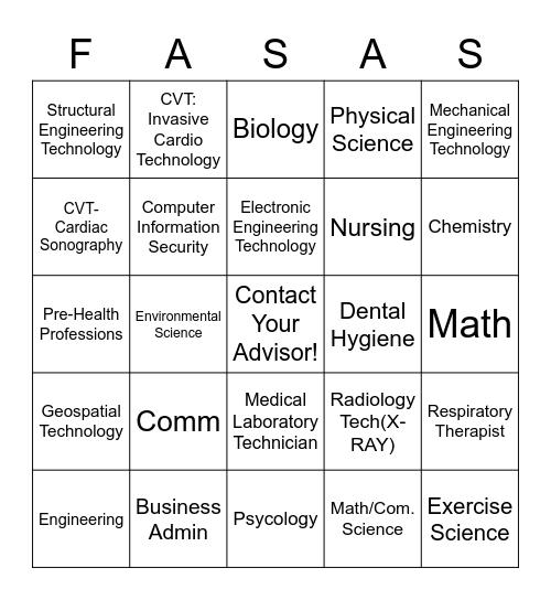 Associate in Science Bingo Card
