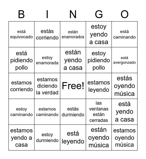 ESTAR (emociones/condiciones & presente progresivo) Bingo Card
