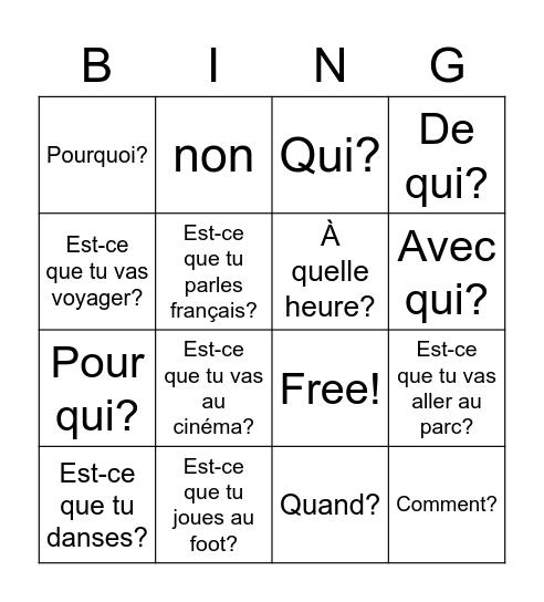 Les questions et mot intérrogatifs Bingo Card