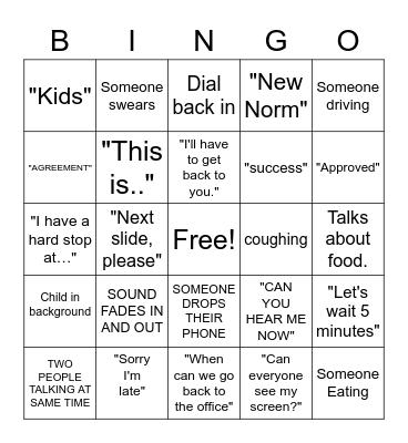 Conference Call Bingo Card