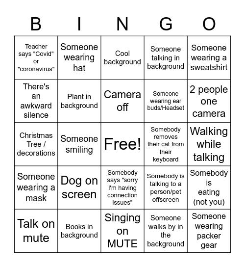 Distance Learning Bingo Card