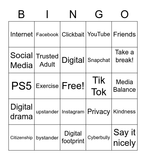 Digital Citizenship Bingo Card