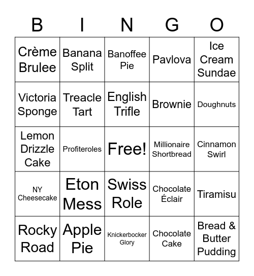 DESSERTS Bingo Card