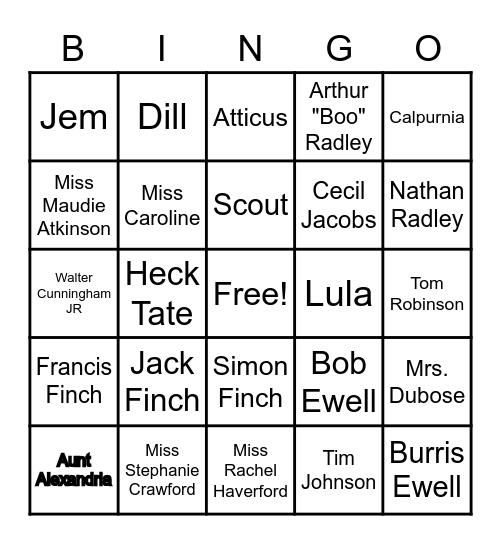 TKM Character Review! Bingo Card