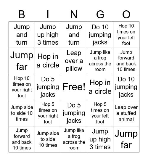 Jumping and Landing Bingo Card