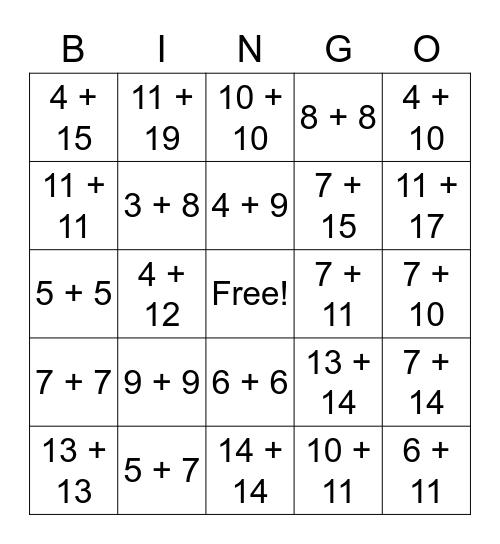 Addition Facts Bingo Card