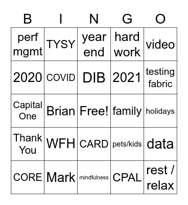 Core/Product All Hands BINGO Card