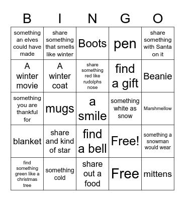 winter bingo Card