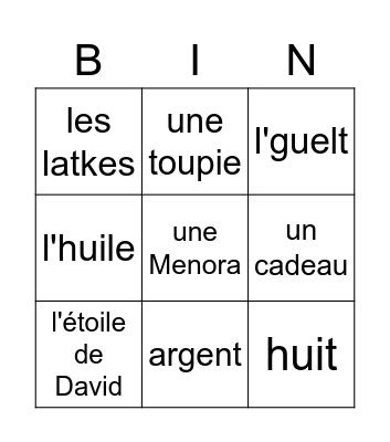 Vocabulaire de Hanoukka Bingo Card