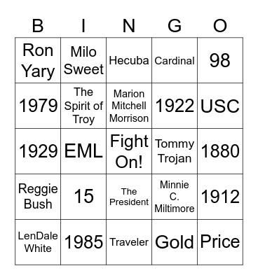 USC Trivia Bingo Card