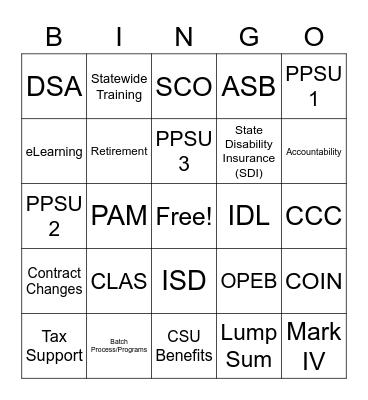 SCO Holiday Bingo Card
