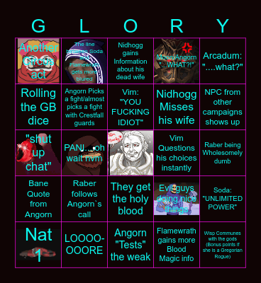 """The Tearing Veil Episode 10 """"BLOOD FOR THE BLOOD MAGE"""" Bingo Card"""