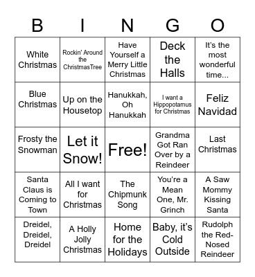R5 Holiday Songlist-Round 1 Bingo Card