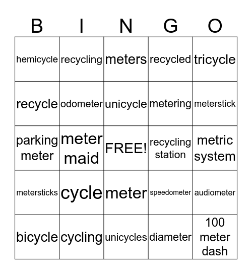 meter and cycle bingo Card